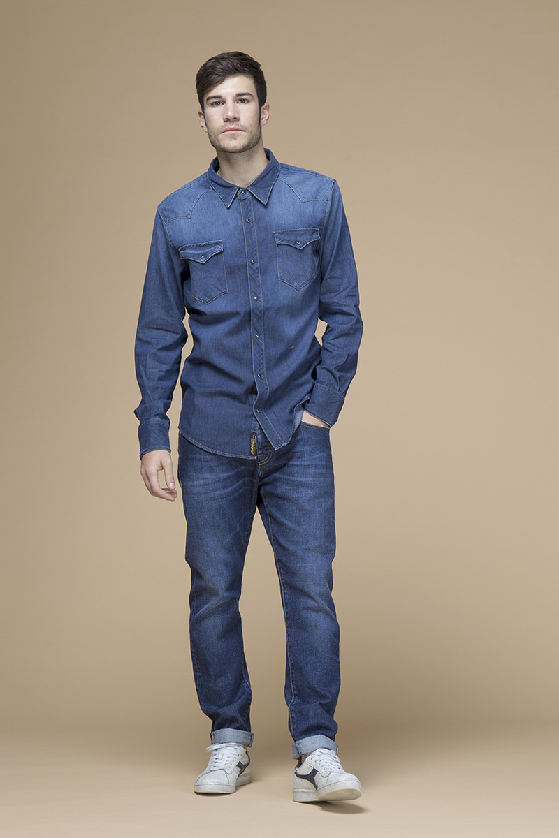 Kuster, camicia in jeans slim, front