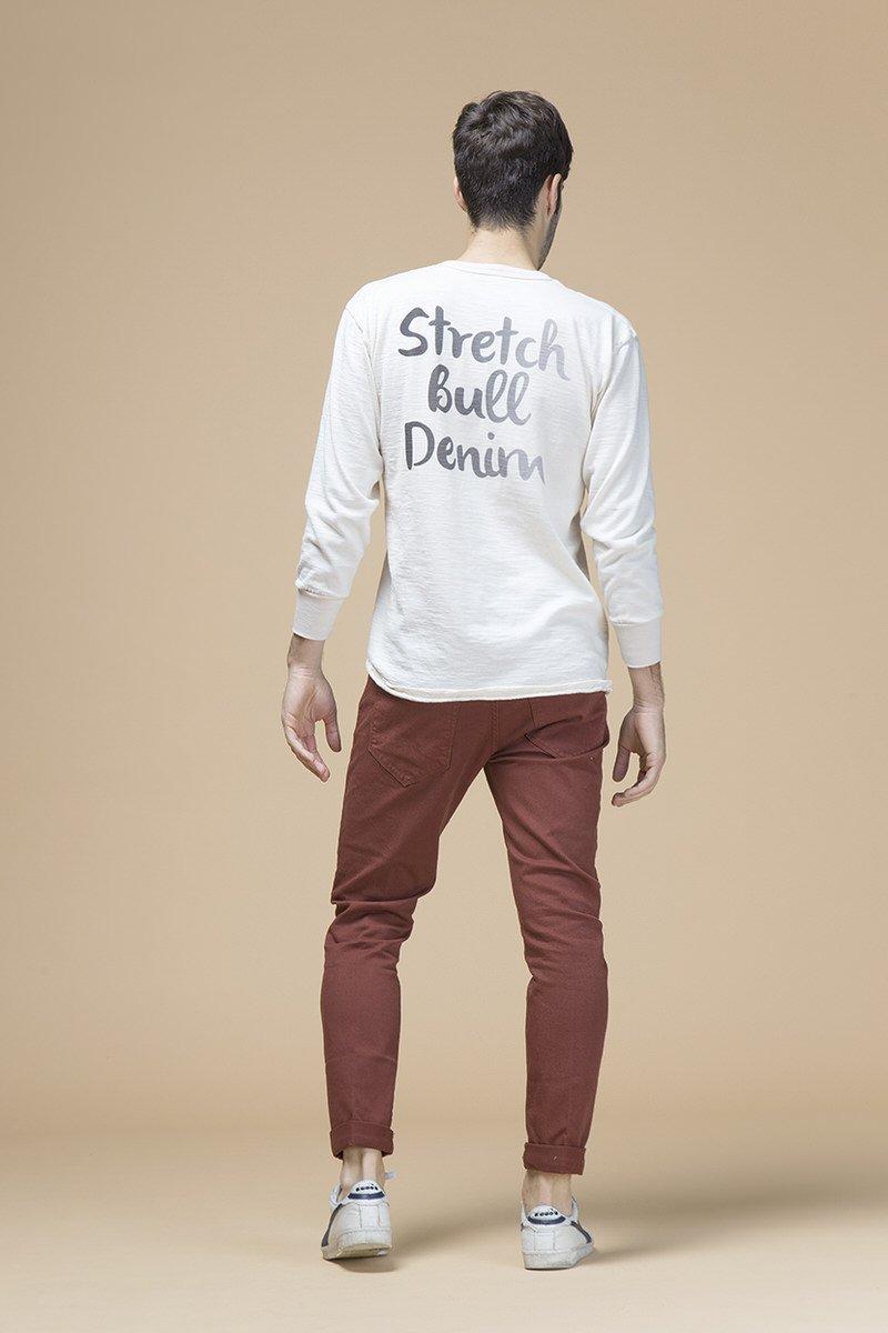 Marco, pantalone slim slouchy, tessuto bull stretch, retro